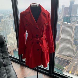 Like new cherry red A-line fully lined trench coat
